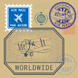 Set of air mail symbols Royalty Free Stock Images