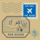 Set of air mail symbols Stock Photo