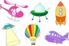 Set of air transport: balloon, aircraft, helicopter, rocket, fly Royalty Free Stock Image