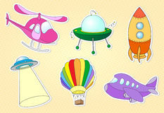 Set of air transport: balloon, aircraft, helicopter, rocket, fly Royalty Free Stock Photo