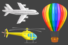 Set of air transport. Set of isolated air transport: plane, helicopter and aerostat. Color vector icons set. Airline service. Flying airplanes illustration Royalty Free Stock Image