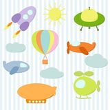 Set of air transport stickers Stock Images