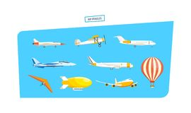 Air vehicles icon set. Set of air vehicles concept. Air vehicles: missile with base, hang-glider, helicopter, airship, balloon, paraglider, biplane, land glider stock illustration