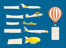 Set of air vehicles concept with white banners. Air vehicles: hang-glider, helicopter, airship, balloon, paraglider, biplane, land glider, amphibian aircraft royalty free illustration