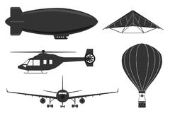 A set of aircraft, an airplane, an airship, a hang glider, a balloon Stock Images
