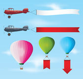 Set of aircraft with banners Stock Image