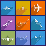 Set with aircraft icons. Flat style with long shadow Stock Image