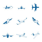 Set with aircraft icons. Set with aircraft icons on a white background Royalty Free Stock Photography