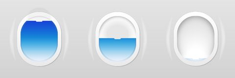 Set of Aircraft windows. Plane portholes isolated. Vector illustration. royalty free illustration