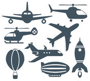 Set of aircrafts  icons. Set of various aircrafts  icons Royalty Free Stock Photography