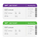 Set of the airline boarding pass tickets. Isolated on white background. Vector flat design. Royalty Free Stock Image
