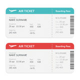 Set of the airline boarding pass tickets. Isolated on white background. Vector flat design. Stock Images