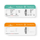 Set of the airline boarding pass tickets with shadow. Isolated on white background. Vector illustration. Royalty Free Stock Photos
