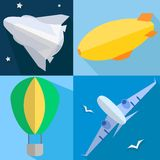 Set airplane, airship, balloon, space shuttle Stock Images