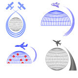 Set of Airplane Icons. Summer Vacation. Royalty Free Stock Photography