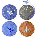 Set of Airplane Icons. Travelling by Plane. Set of Airplane Icons  on White Background. Around the World Travelling by Plane. Summer Vacation Royalty Free Stock Image