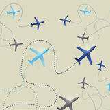 Set of airplane routes illustration Stock Photos