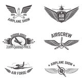 Set of airplane show labels isolated on white background. Stock Images