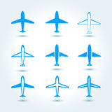 Set of airplane symbol Royalty Free Stock Images