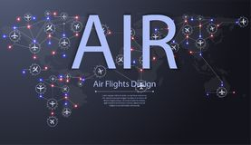 Set of airplanes flying over world map. Destinations of plane flight. Aviation routes concept. vector illustration
