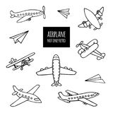 Set of airplanes hand-drawn. The contours of the aircraft in Doodle style on white background. You can decorate stock illustration