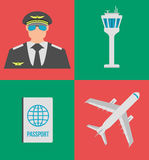 Set of airport flat icons, signs and symbol. Vector Illustration Stock Photography