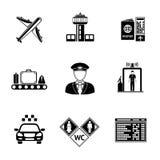 Set of AIRPORT icons - airplane, airport, passport Stock Photo