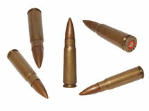 Set ak-47 bullet, isolated on white. Set ak-47 bullet,  isolated on white background with clipping path Royalty Free Stock Images