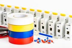 Set akcesoria dla instalacji elektryczny drutowanie stwarza ognisko domowe Elektryczno?? przemys?u poj?cie obrazy stock
