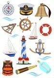 Set akcesoria dla statków i jachtów również zwrócić corel ilustracji wektora royalty ilustracja