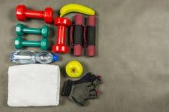Set akcesoria dla zdrowego stylu życia i aktywnego Zdjęcia Royalty Free