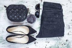 Set akcesoria mody ubrania widzieć od above, odgórny widok Zdjęcia Stock