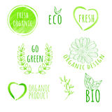 Set akwareli żywności organicznej etykietki Eco produkt Zdjęcia Royalty Free