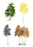 Set akwareli drzewa Zdjęcie Stock