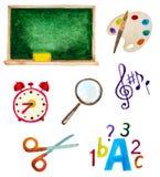 Set akwareli szkoły rzeczy royalty ilustracja