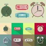Set of alarm clock flat design Stock Images