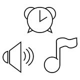 Set from alarm clock, musical note and sound icon. Royalty Free Stock Image