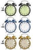 Set of alarm clocks. 3D isolated retro alarm clocks Stock Images