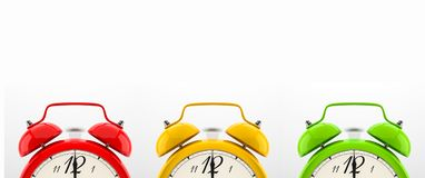 Set of 4 colorful alarm clocks Stock Image