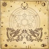 Set of alchemical symbols. Mythical dragons protect a mysterious alchemical circle. Stock Photos