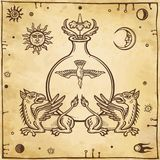 Set of alchemical symbols. Mythical dragons protect a test tube with a bird. Royalty Free Stock Photo
