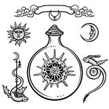 Set of alchemical symbols. Origin of life. Skeleton of a radiolaria in a test tube. Stock Photos