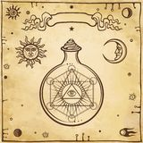 Set of alchemical symbols. A providence eye in a test tube, chemical reaction. Sacred geometry. Origin of life.    Background - imitation of old paper. Vector Royalty Free Stock Image