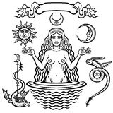 Set of alchemical symbols: young beautiful woman holds  sun and  moon in hand. Eve`s image, fertility, temptation. Royalty Free Stock Photos
