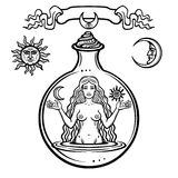 Set of alchemical symbols: young beautiful woman holds  sun and  moon in hand. Eve`s image, fertility, temptation. Stock Image