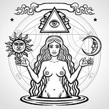 Set of alchemical symbols: young beautiful woman holds sun and moon in hand. Eve`s image, fertility, temptation. Esoteric, mystic, occultism. Vector stock illustration