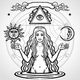 Set of alchemical symbols: young beautiful woman holds  sun and  moon in hand. Eve`s image, fertility, temptation. Esoteric, mystic, occultism. Vector Royalty Free Stock Photo