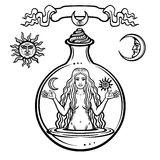 Set of alchemical symbols: young beautiful woman holds sun and moon in hand. Eve`s image, fertility, temptation. Esoteric, mystic, occultism. Vector royalty free illustration
