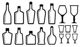 Set alcohol bottle and glass Stock Image