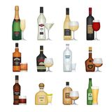 Set of alcohol bottle with glasses. Alcohol drinks and beverages Stock Photo